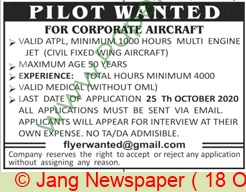 Pakistan Based Company jobs newspaper ad for Pilot in Lahore