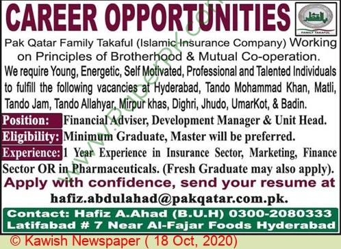Pak Qatar Family Takaful Latifabad Jobs For Financial Advisor advertisemet in newspaper on October 18,2020