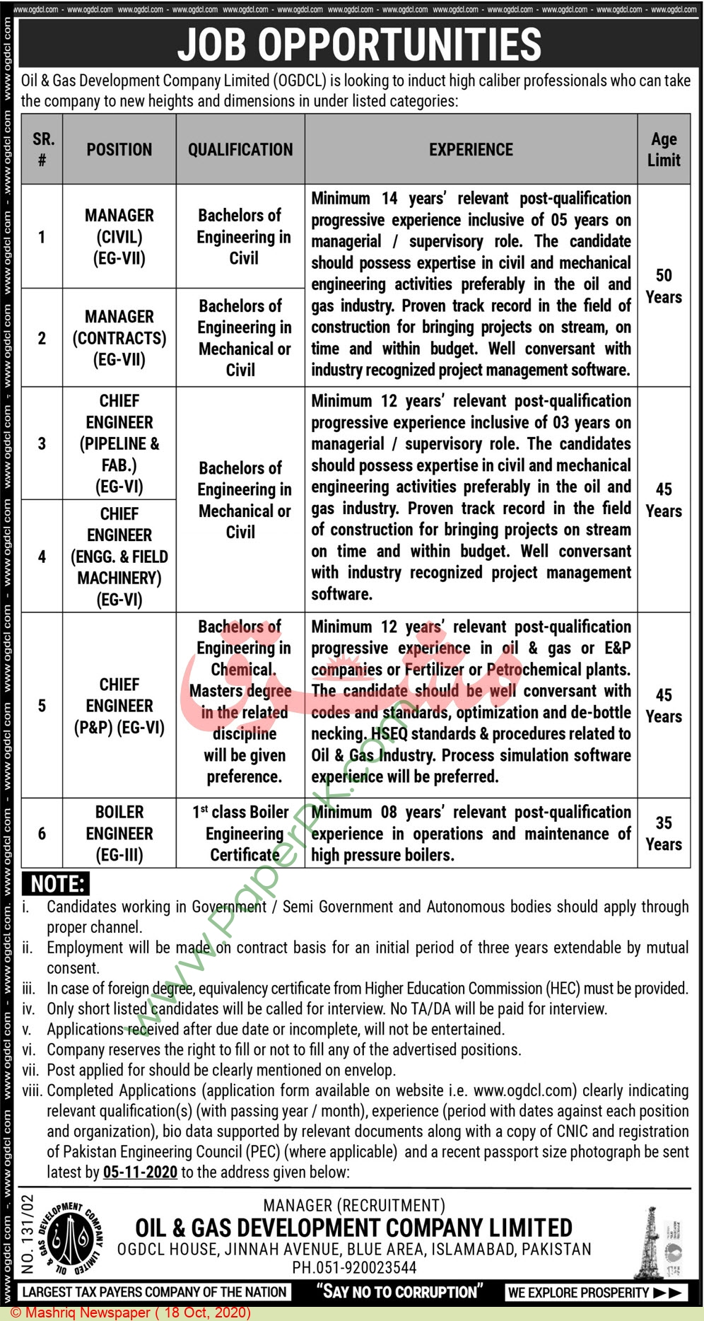 Chief Engineer jobs in Islamabad at Oil & Gas Development Company Limited