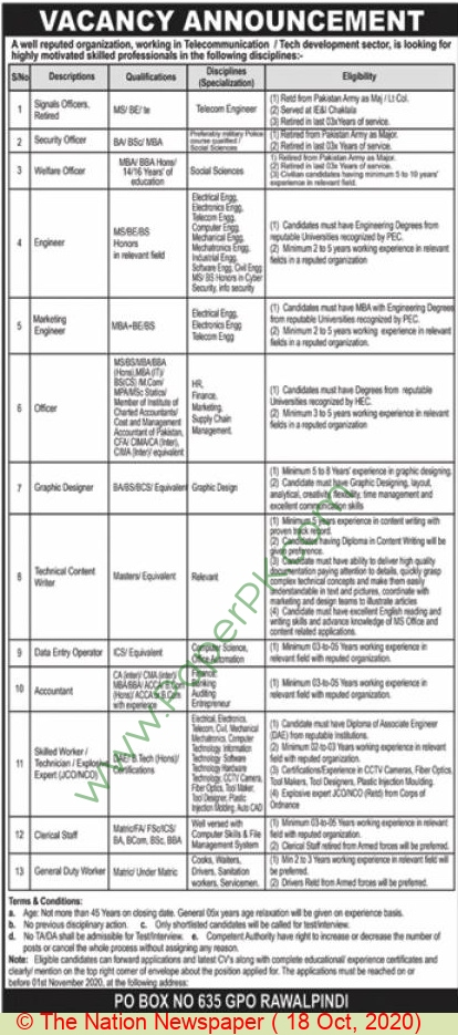 Government of Punjab jobs newspaper ad for Signals Officer in Rawalpindi