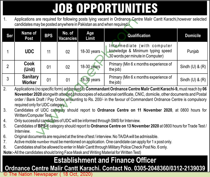 Ordnance Centre jobs newspaper ad for Sanitary Worker in Karachi