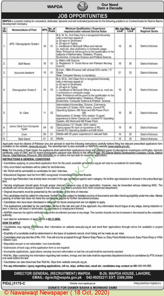 Water and Power Development Authority jobs newspaper ad for Cook in Lahore