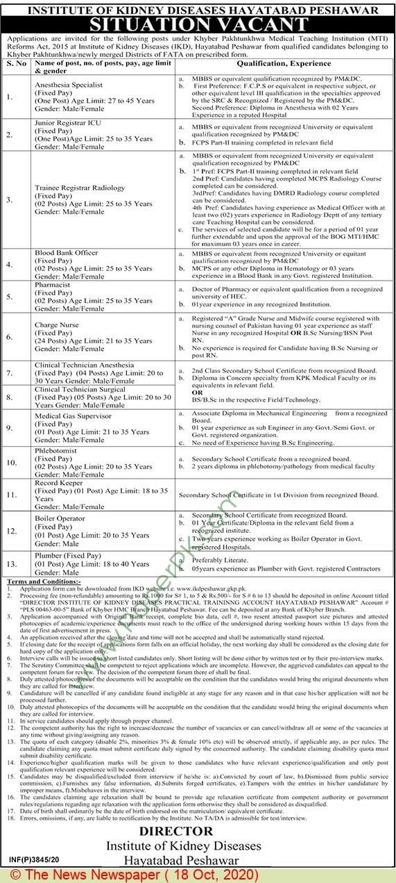 Institute Of Kidney Diseases jobs newspaper ad for Plumber in Peshawar
