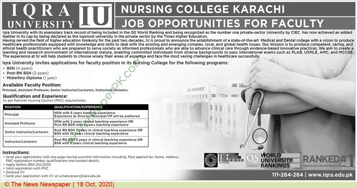 Iqra University jobs newspaper ad for Principal in Karachi