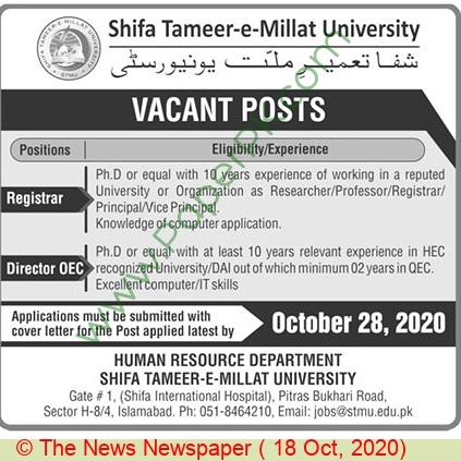 Shifa Tameer E Millat University jobs newspaper ad for Registrar in Islamabad