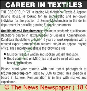 The Gbo Group jobs newspaper ad for Senior Merchandiser in Lahore
