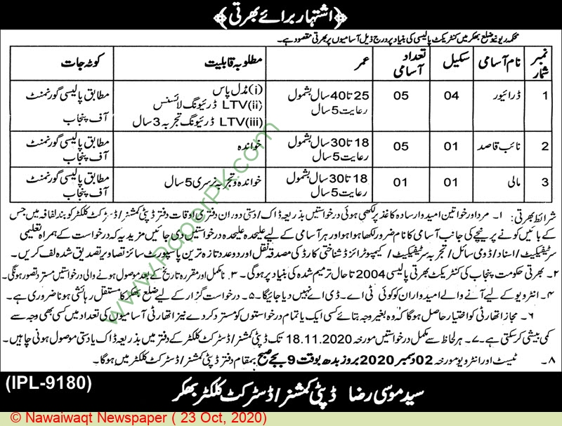 Office Of The Deputy Commissioner jobs newspaper ad for Driver in Bhakkar on 2020-10-23