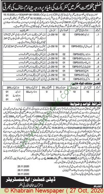 Health Department jobs newspaper ad for Driver in Bhakkar on 2020-10-27
