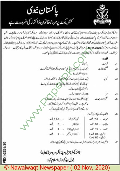 Pakistan Navy jobs newspaper ad for Doctor in Islamabad
