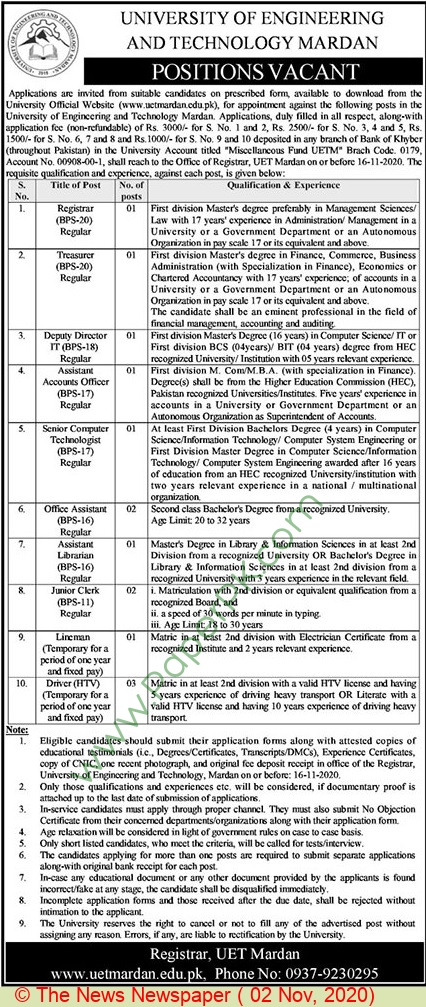 University Of Engineering & Technology jobs newspaper ad for Deputy Director in Mardan
