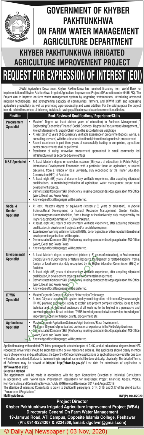 On Farm Water Management jobs newspaper ad for Social & Gender Specialist in Peshawar on 2020-11-03