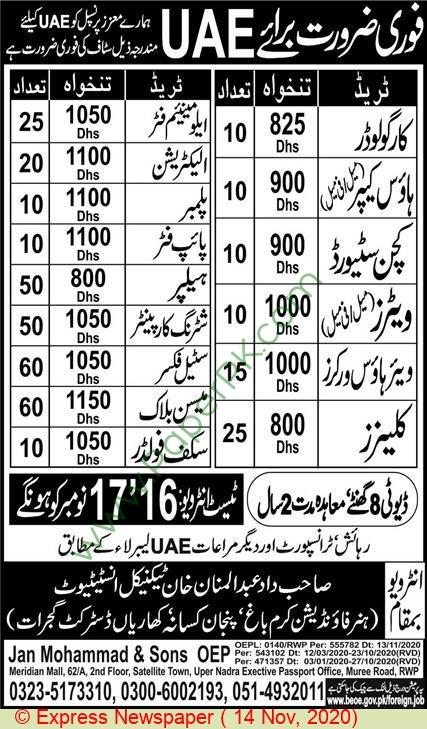 Jan Muhammad & Sons jobs newspaper ad for Scaffolder in Mardan