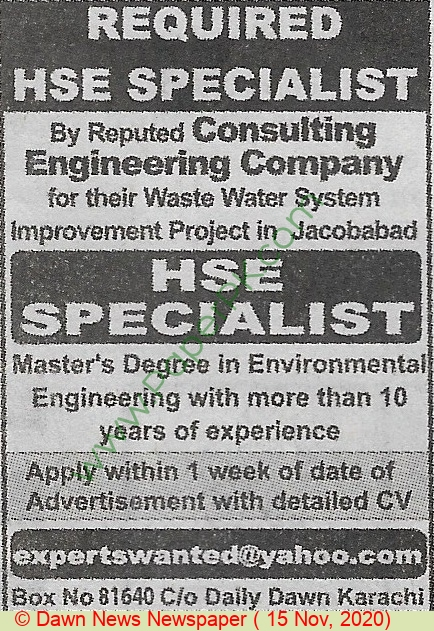 Consulting Engineering Company jobs newspaper ad for Hse Specialist in Jacobabad on 2020-11-15