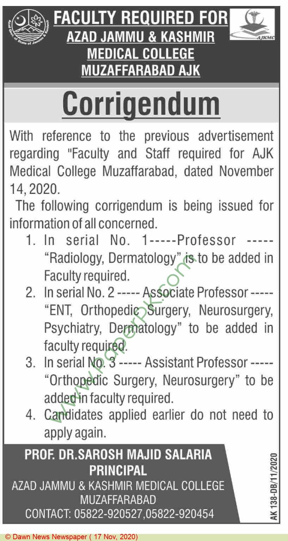 Azad Jammu & Kashmir Medical College jobs newspaper ad for Professor in Muzaffarabad