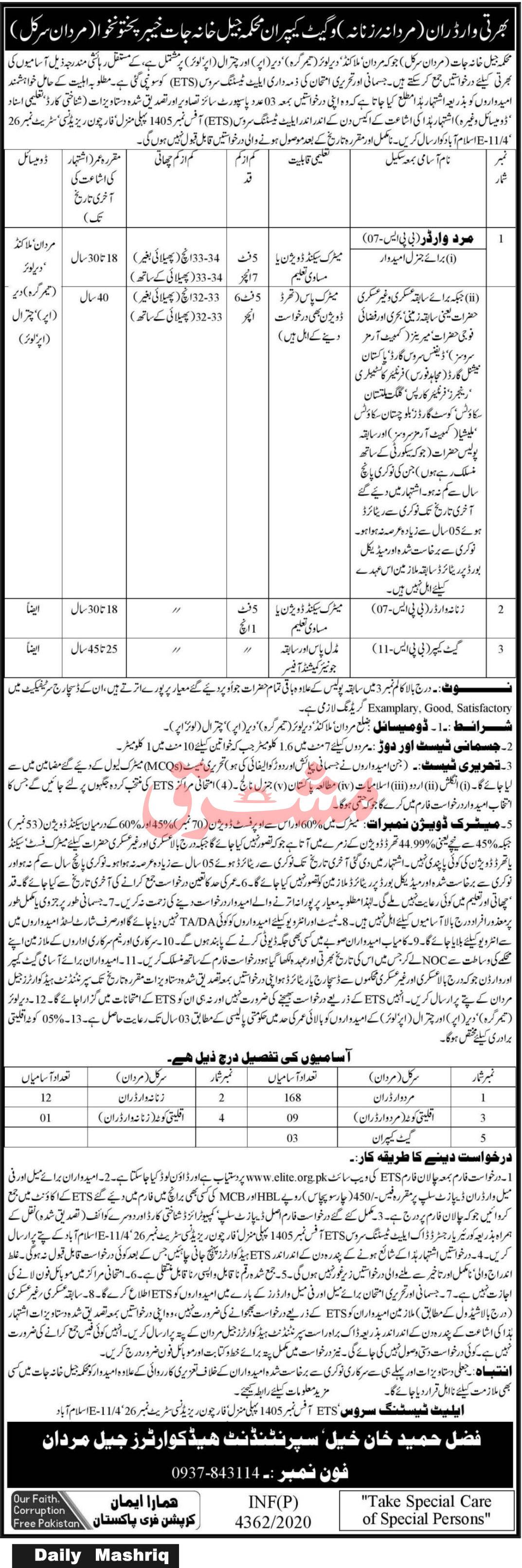 Jail Department jobs newspaper ad for Warden in Mardan