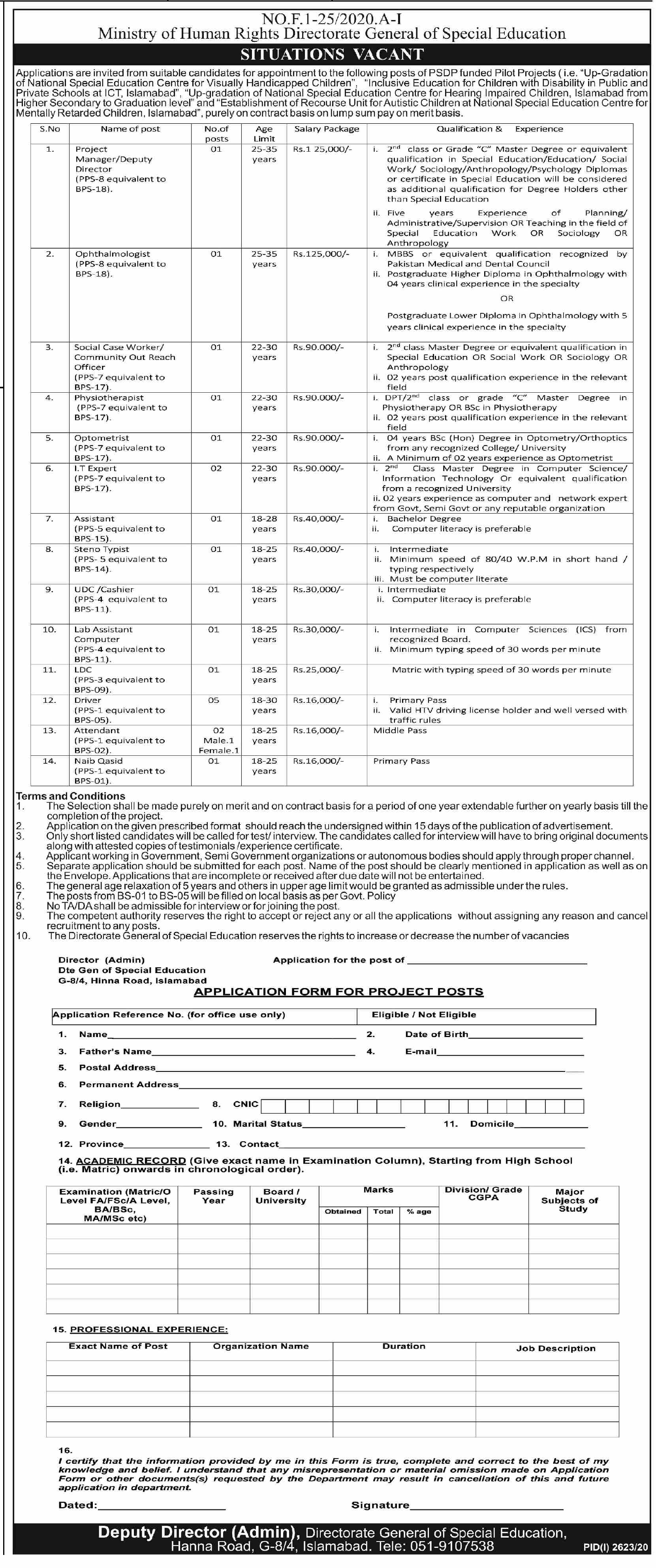 Ministry Of Human Rights jobs newspaper ad for Optometrist in Islamabad