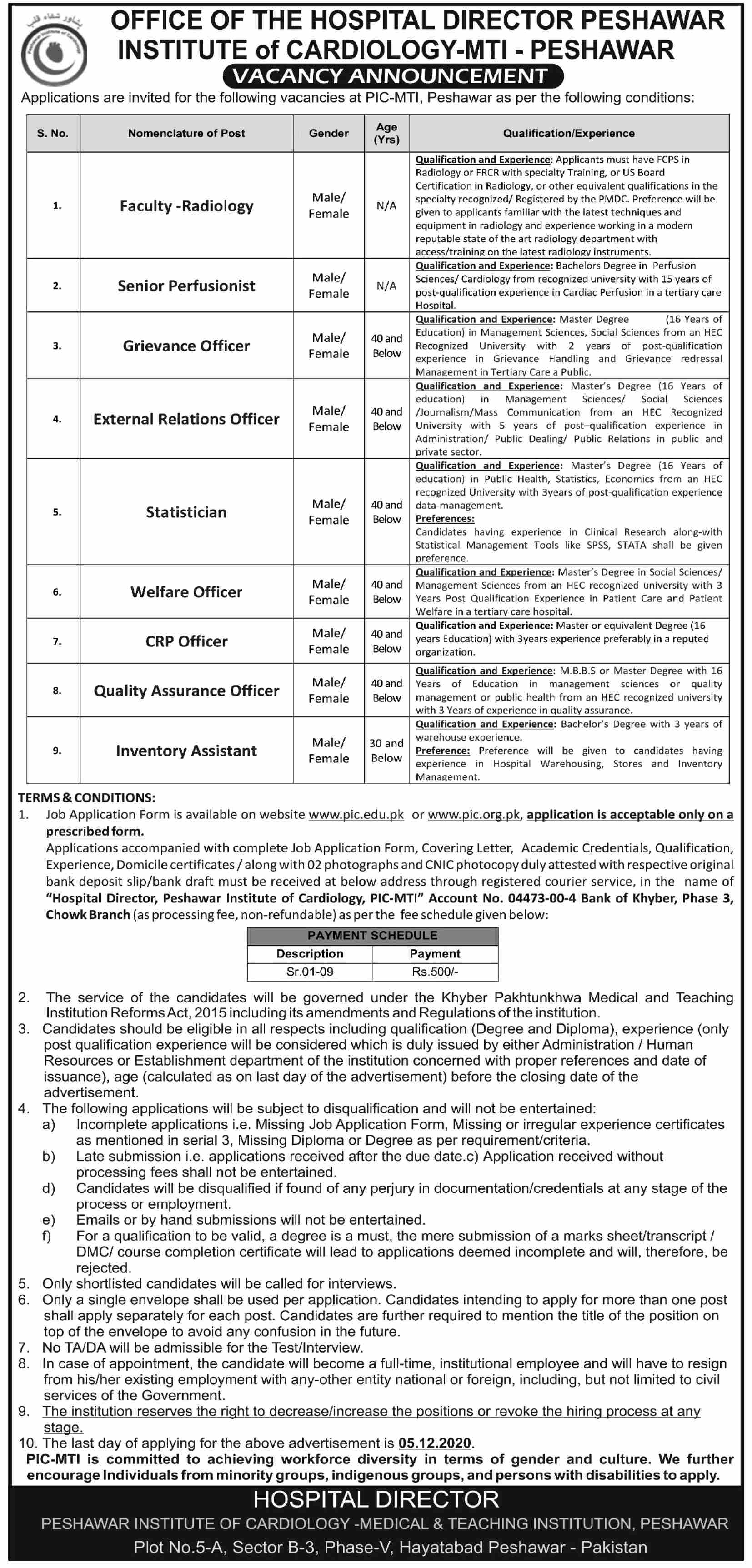 Peshawar Institute Of Cardiology jobs newspaper ad for Inventory Assistant in Peshawar