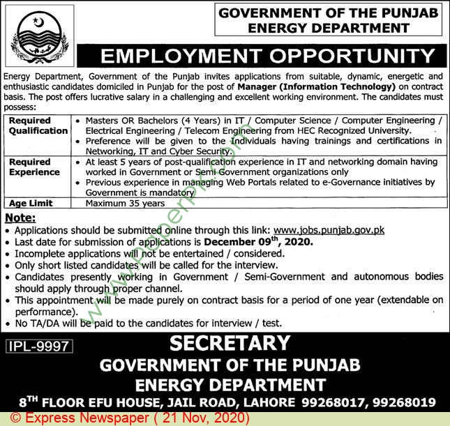 Energy Department jobs newspaper ad for Manager in Lahore