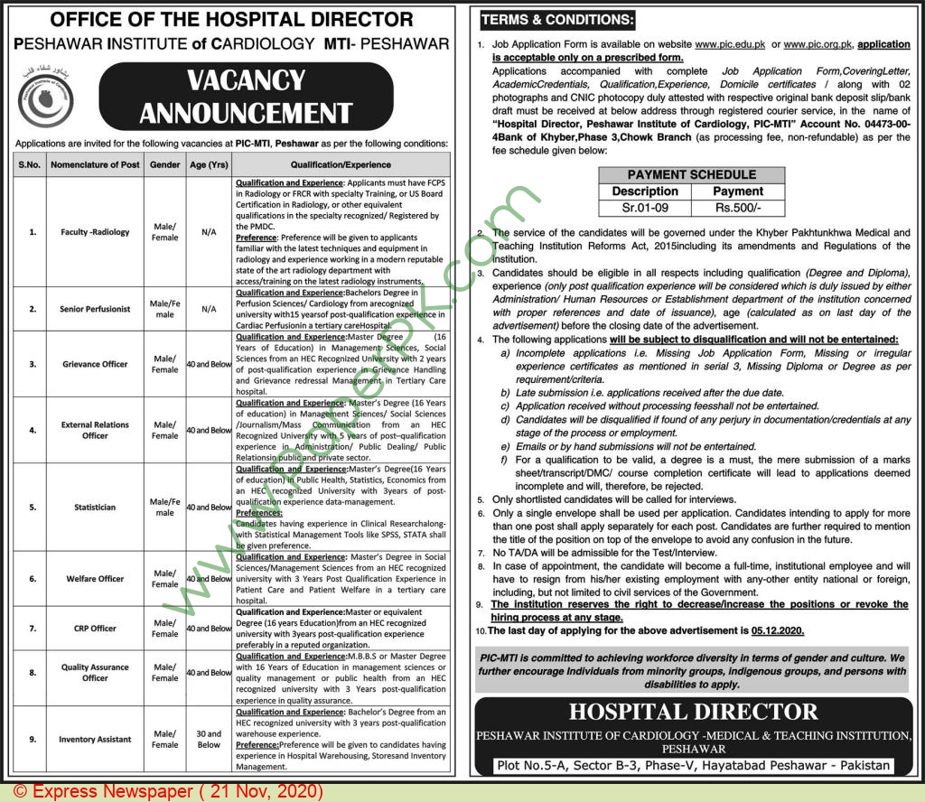 Institute Of Cardiology jobs newspaper ad for Welfare Officer in Peshawar
