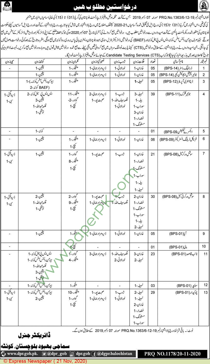 Social Welfare Department jobs newspaper ad for Data Entry Operator in Quetta