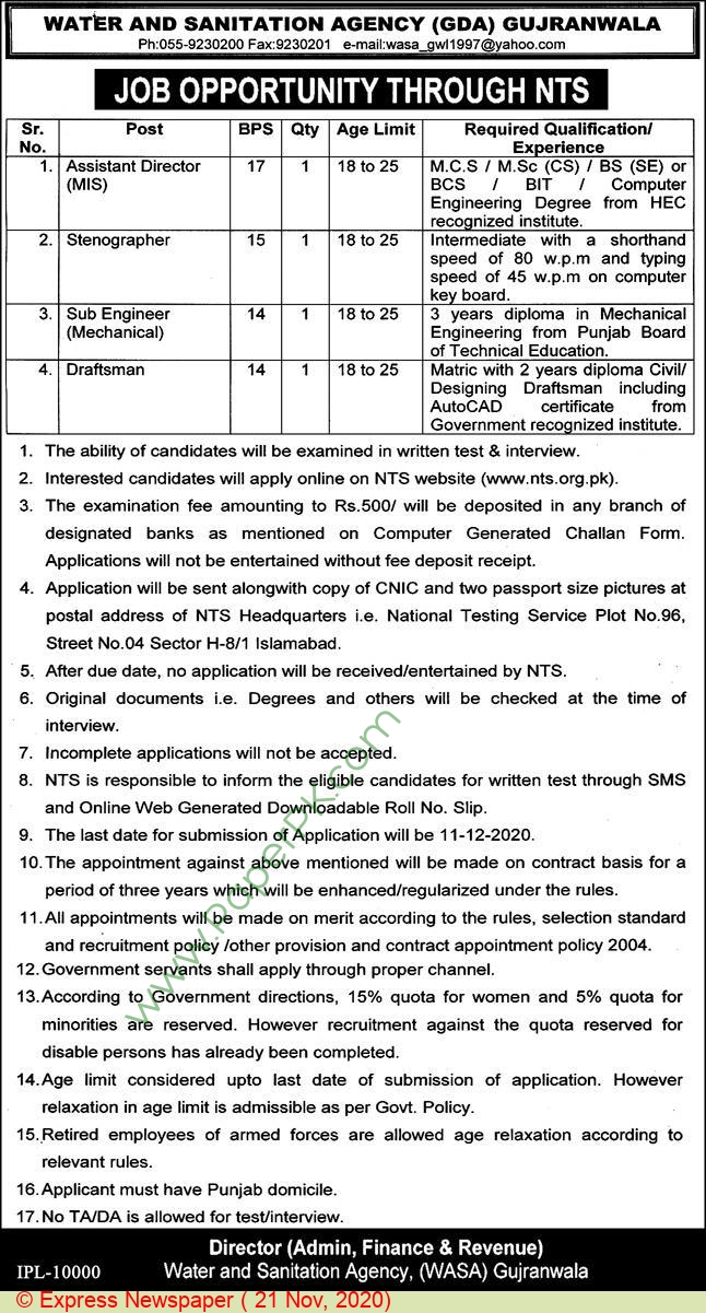 Water & Sanitation Agency jobs newspaper ad for Draftsman in Gujranwala