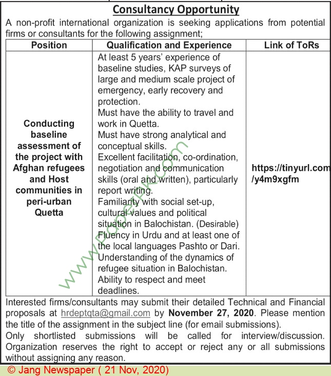 Non Profit International Humanitarian Organization jobs newspaper ad for Consultant in Quetta