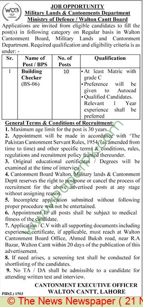 Military Lands & Cantonments Department jobs newspaper ad for Building Checker in Lahore