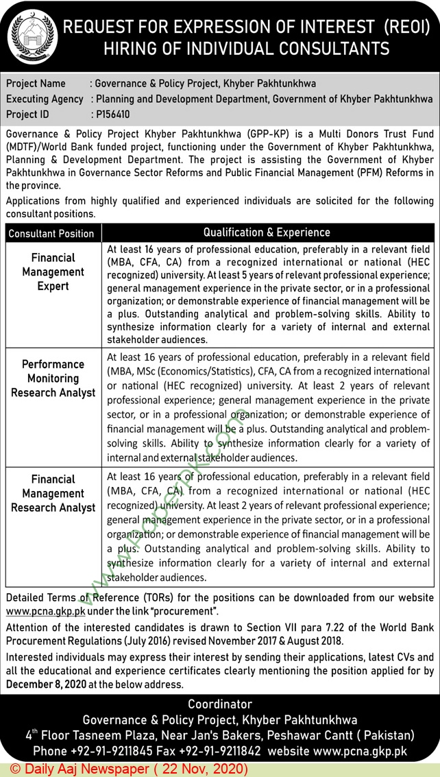 Governance & Policy Project jobs newspaper ad for Performance Monitoring Research Analyst in Peshawar