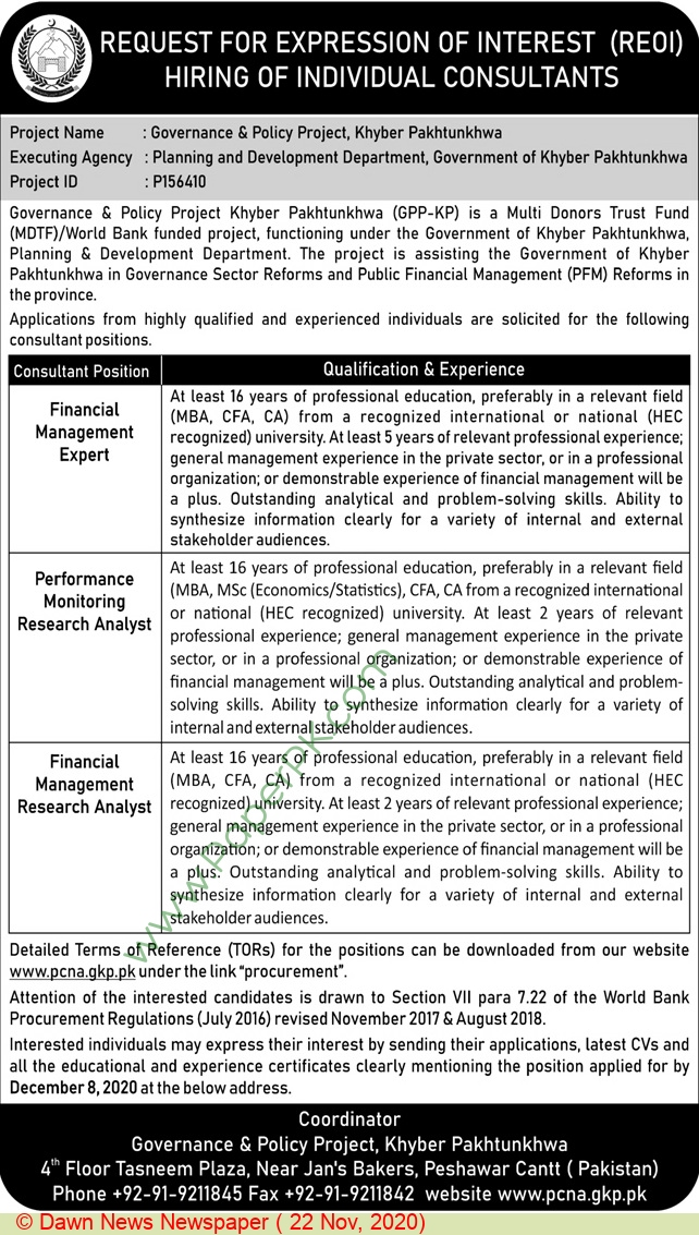 Governance & Policy Project jobs newspaper ad for Financial Management Research Analyst in Peshawar