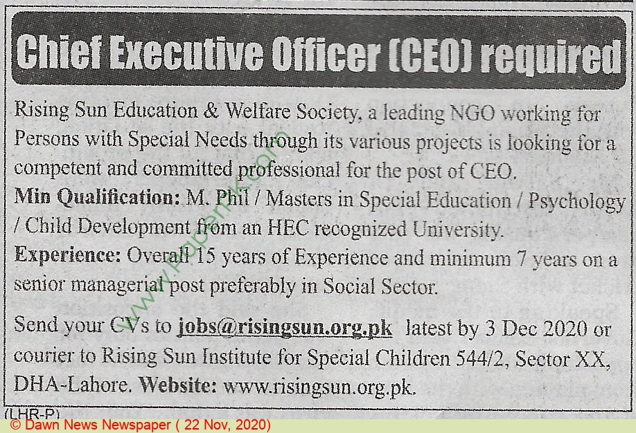 Rising Sun Education & Welfare Society jobs newspaper ad for Chief Executive Officer in Lahore