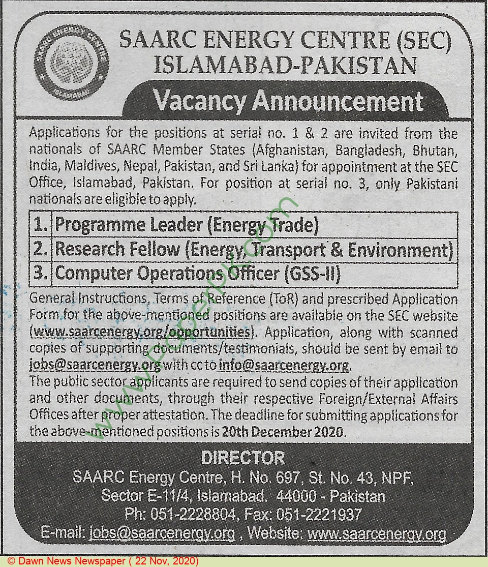 Saarc Energy Centre jobs newspaper ad for Research Fellow in Islamabad