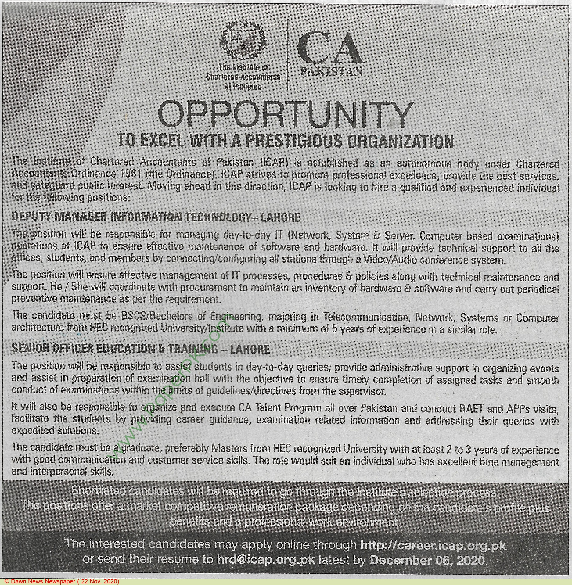 The Institute Of Chartered Accountants Of Pakistan jobs newspaper ad for Deputy Manager in Lahore