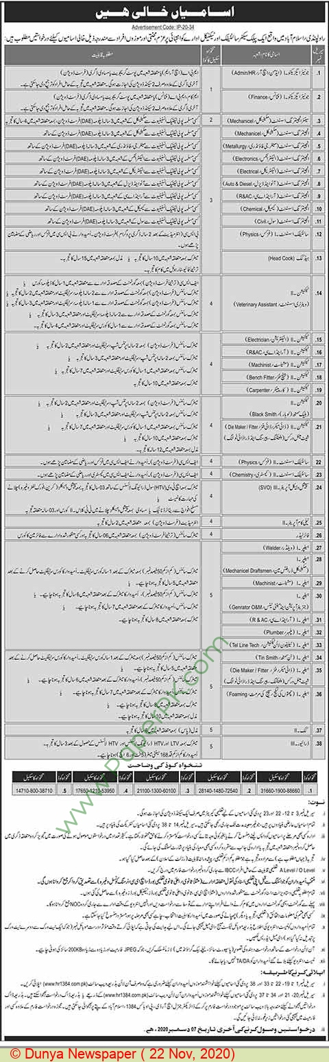 Public Sector Scientific & Technical Organization jobs newspaper ad for Junior Executive in Rawalpindi