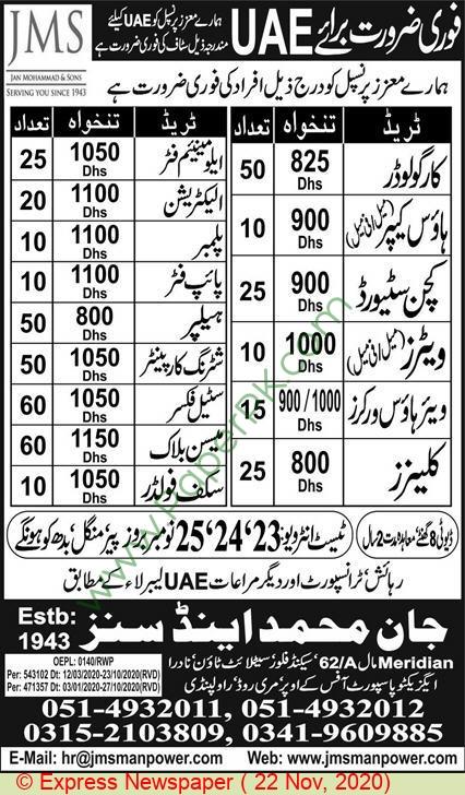 Jan Muhammad & Sons jobs newspaper ad for Cargo Loader in Rawalpindi