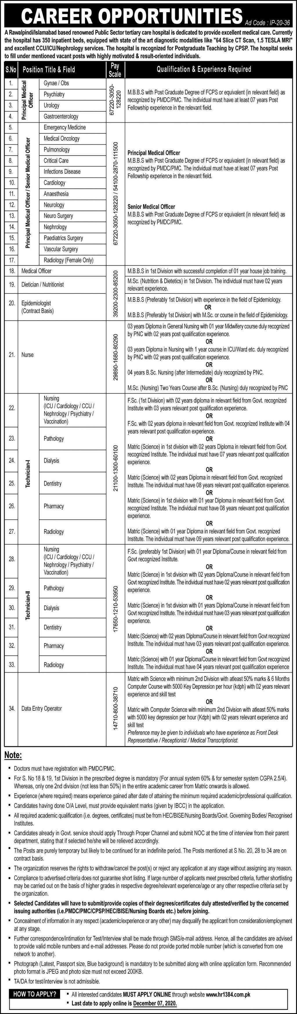 Public Sector Tertiary Care Hospital jobs newspaper ad for Technician in Rawalpindi