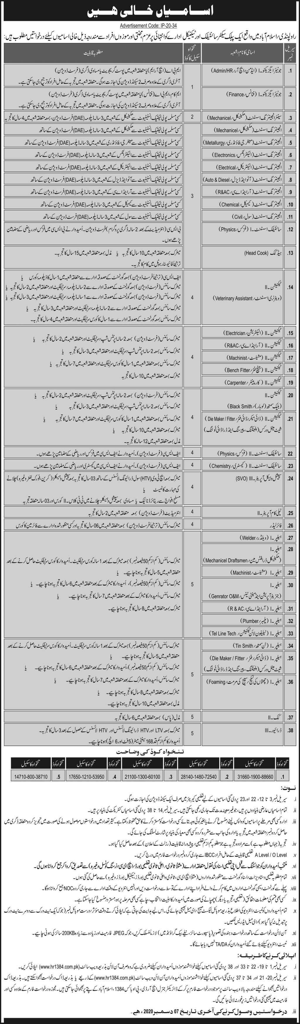 Public Sector Scientific & Technical Organization jobs newspaper ad for Telecom Operator in Islamabad, Rawalpindi