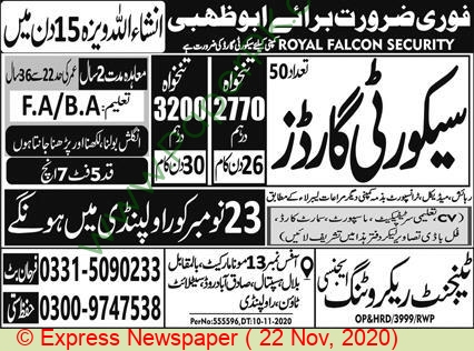 Tangent Recruitment Agency jobs newspaper ad for Security Guard in Rawalpindi