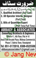 Abbasy & Assoicates Rawalpindi Jobs For Architect advertisemet in newspaper on November 22,2020