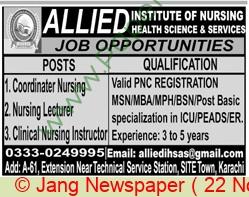 Allied Institute Of Nursing & Health Sciences jobs newspaper ad for Coordinator Nursing in Karachi