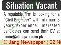 Altaqwa Facilities Management Private Limited jobs newspaper ad for Civil Engineer in Rawalpindi