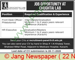 Chughtai Lab jobs newspaper ad for Hr Executive in Lahore