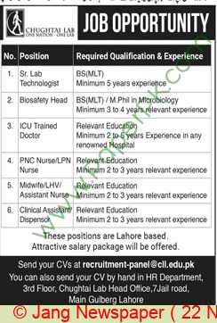 Chughtai Lab jobs newspaper ad for Senior Lab Technologist in Lahore