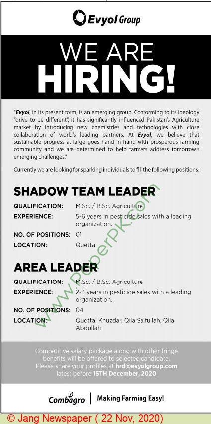 Evyol Group jobs newspaper ad for Shadow Team Leader in Quetta