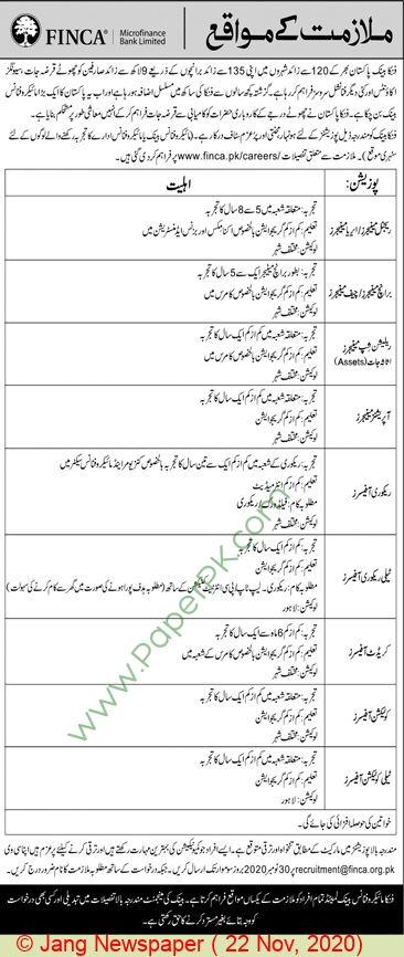 Finca Microfinance Bank Limited jobs newspaper ad for Branch Manager in Karachi