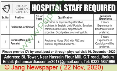 Jhelum Cardiac Center jobs newspaper ad for Nurse in Jhelum