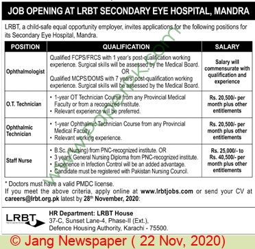 Layton Rahmatullah Benevolent Trust Karachi Jobs For Opthalmologist, Ot Technician, Staff Nurse advertisemet in newspaper on November 22,2020
