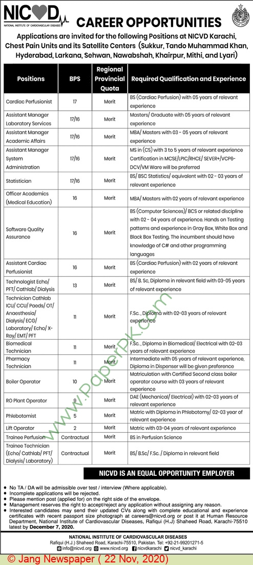 National Institute Of Cardiovascular Diseases jobs newspaper ad for Cardiac Perfusionist in Karachi