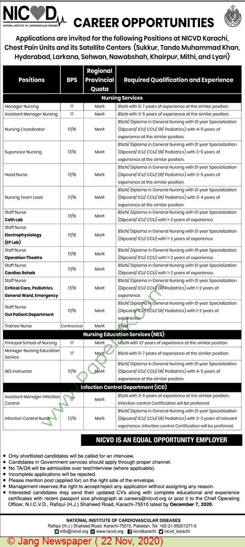 National Institute Of Cardiovascular Diseases jobs newspaper ad for Staff Nurse in Karachi