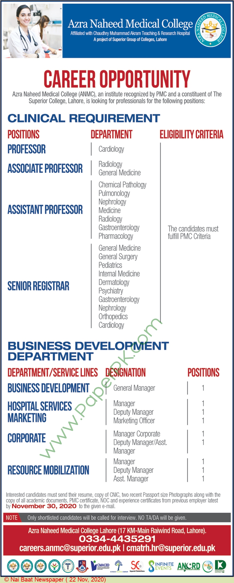 Azra Naheed Medical College jobs newspaper ad for Assistant Professor in Lahore