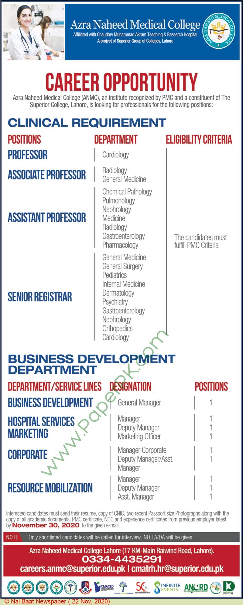 Azra Naheed Medical College jobs newspaper ad for Senior Registrar in Lahore
